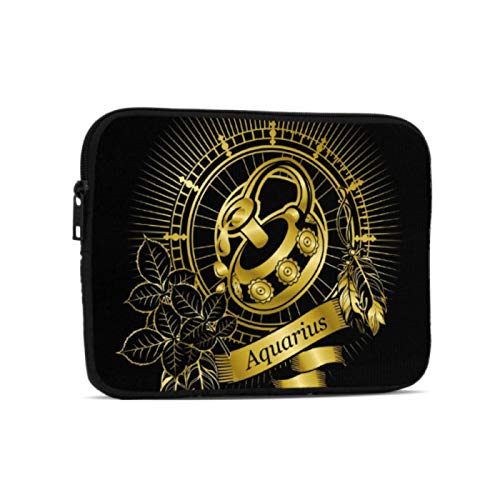 Waterproof Pouch Aquarius Zodiac Beautiful Horoscope Waterproof Ipad Pouch Compatible With Ipad 7.9/9.7 Inch Shockproof Neoprene Zipper Tablet Protective Bag With Handle Strap