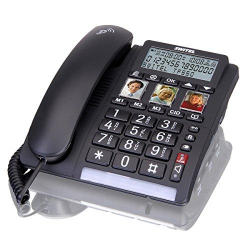 Switel TF550 Großtastentelefon schnurgebunden, drei programmierbare Fototasten, großes Display, extra lauter Klingelton, hörgerätekompatibel