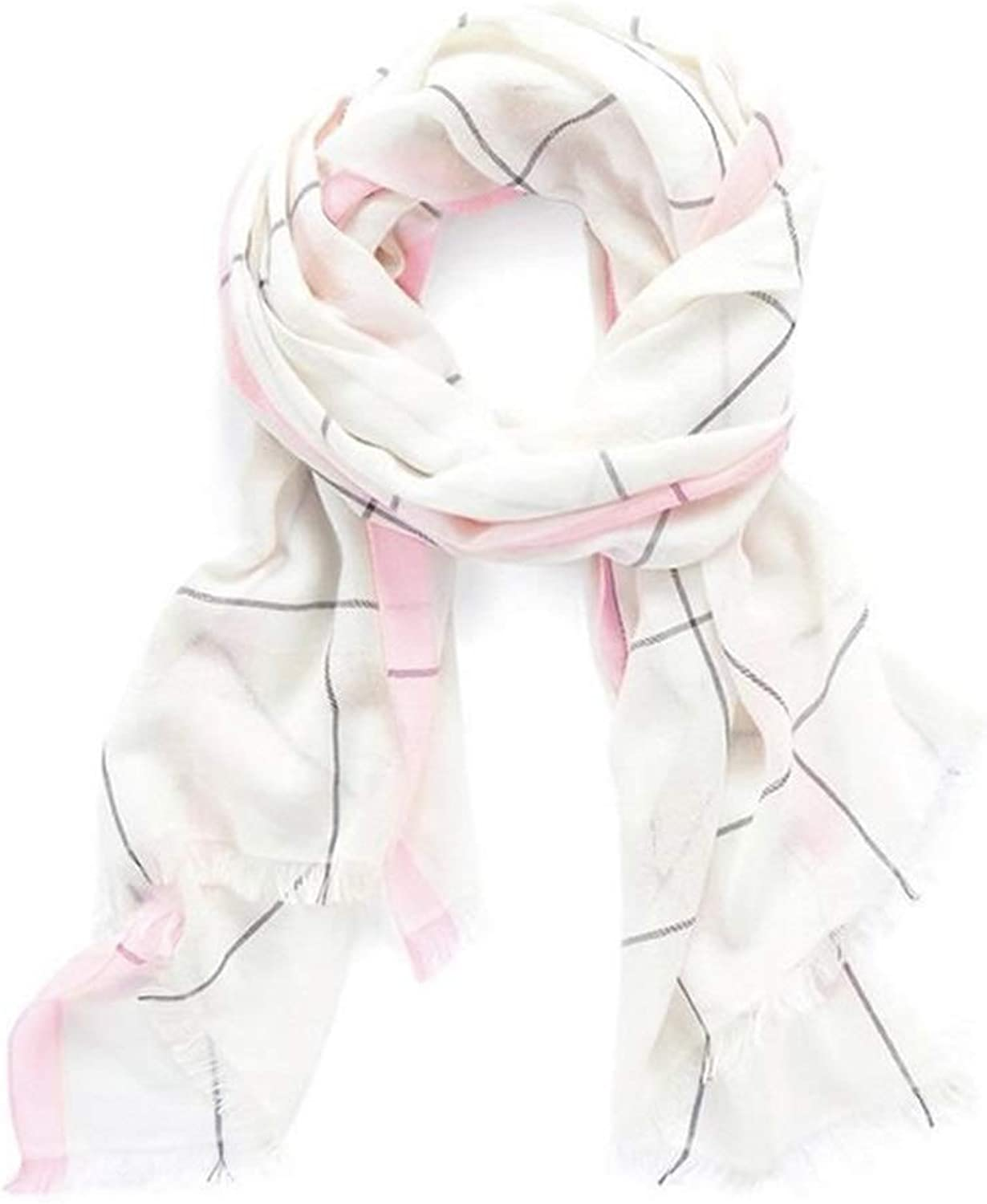 JUN Plaid Scarf Female Long Section Soft and Comfortable Shawl DualUse 78.7x27.6in (color   Pink)