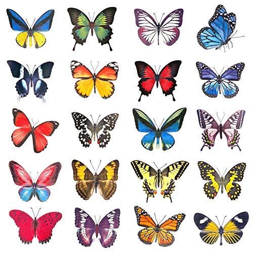 OOTSR 20 Stück Schmetterlings Fenster Aufkleber, Dekor Fensteraufkleber, Antikollisions Fensterwarn-Vogelaufkleber, Fensteraufkleber für Glasfenster und Türen