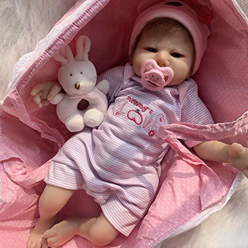CHUTD Reborn Baby Silicona Reborn Doll Full Silicon Realista Baby Doll como Genuine Baby 18 Pulgadas / 45Cm Realborn Baby Doll Fácil de Limpiar Realista
