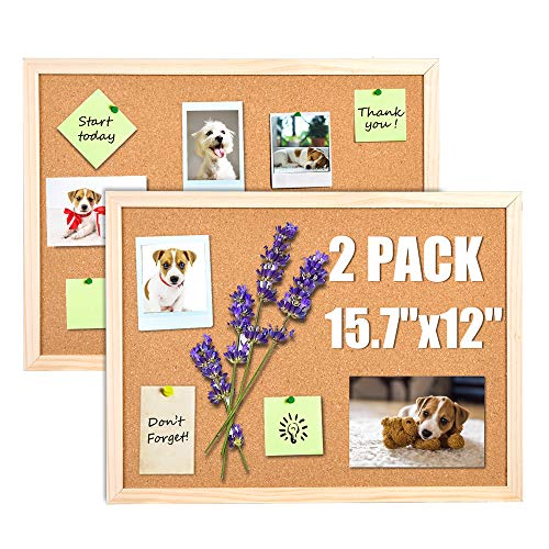 """2 Pcs Cork Board Bulletin Board, Cork Boards for Walls with Pins, Eye Bolts, gaskets, Screws, Pin Board for Office, School and Home(12""""x15.7"""", Large)"""