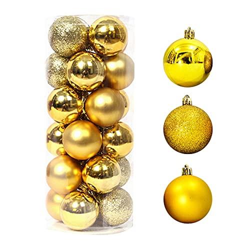 Muium(TM) Bolas de Navidad para árbol de Navidad, 24 unidades, bolas decorativas de Navidad, mate y brillante, bolas decorativas para fiestas, Navidad, bodas, decoración de Navidad (dorado)