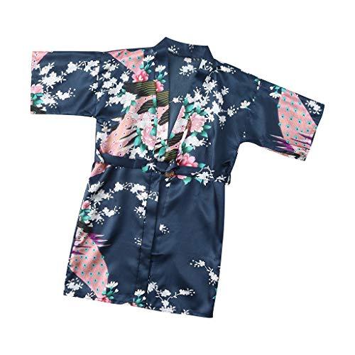 Teen Kids Toddler Baby Girls Boys Soft Floral Silk Satin Kimono Robes...