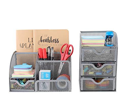 EasyPAG, Schreibtisch-Organizer aus Metallnetz, 2-teiliges Set – vielseitiger Stifthalter und 3 Ebenen, kleine Schublade, Bürobedarf, Aufbewahrungsbehälter silber