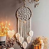 Uposao Boho Traumfänger Weiß Groß Handgemachte Dreamcatcher Quaste Baumwolle gewebte Makramee Wandkunst Wandteppich Wandbehang Ornament für Baby Shower Car Hochzeit Home Decor Geschenk