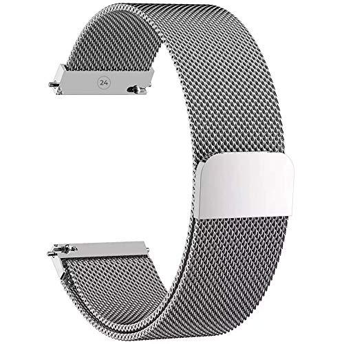 Cinturino per orologio [maglia milanese 24 mm] [acciaio inossidabile] uomo e donna – per orologio collegato compatibile e classico con diverse marche (Pearl Grey)