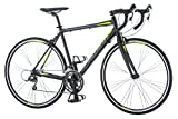 Schwinn Phocus 1600 Drop Bar Mens Road Bicycle, 58cm/Large Alluminum Step-Over Frame, Carbon Fiber Fork, Shimano 16-Speed Drivetrain, 700c Wheels, Black