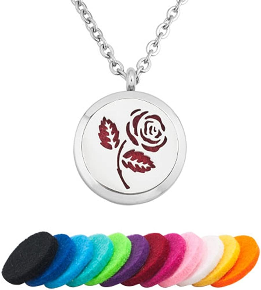 Cory Keyes 30mm Rose Flower Essential Oil Diffuser Aromatherapy Locket Necklace
