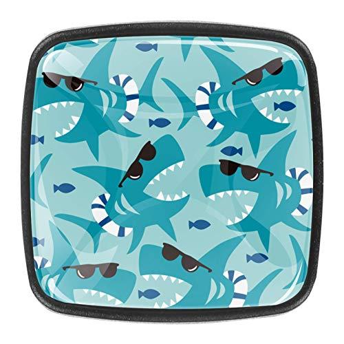 4 pomos redondos para cómoda – colorido diseño floral con diseño floral para cajón, para decoración del hogar, perillas azules