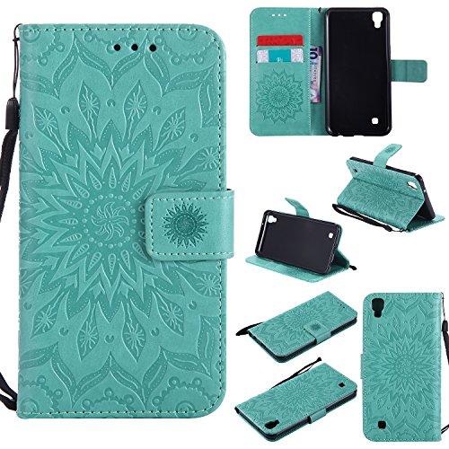 Hülle für LG X Power / K220 Hülle Handyhülle [Standfunktion] [Kartenfach] [Magnetverschluss] Schutzhülle lederhülle flip case für LG X Power - DEKT031842 Grün