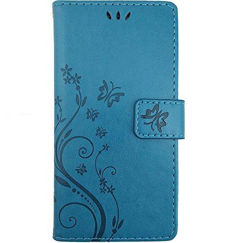 KUAWEI Huawei P9 Hülle Wallet Case Huawei P9 Hülle & Cases Flip Hüllen für Dein Huawei P9,Handy Schutzhülle Kunstleder Handycover Klapphülle mit Kartenfach und Magnetverschluss (Blau) - 6