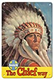 Chicago to California by Train - The Chief Way - Santa Fe Railroad - Native American Indian with Eagle Head Dress - Vintage Railroad Travel Poster c.1950s - 8in x 12in Vintage Tin Sign