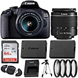 Canon EOS 2000D (Rebel T7) Digital SLR Camera with 18-55mm DC III Lens Kit (International Model) Professional Accessory Bundle Includes: SanDisk Ultra 64GB Memory Card + 50'' Tripod + Filters and More