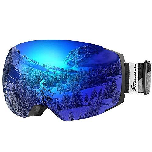 OutdoorMaster Ski & Snowboard Brille mit Abnehmbaren zweilagigen Anti-Nebel Linsen (Lichtdurchlässigkeit 15% Blau Linse)