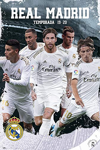Grupo Erik Póster Real Madrid Grupo en Acción 2019/2020, 91,5 x 61 cm