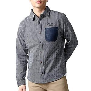 (リアルコンテンツ)REAL CONTENTS デニム ヒッコリー ストライプ シャツ メンズ 長袖 ゆったり 大きいサイズ ワークシャツ 22-h738-rc (XXL, ヒッコリー)