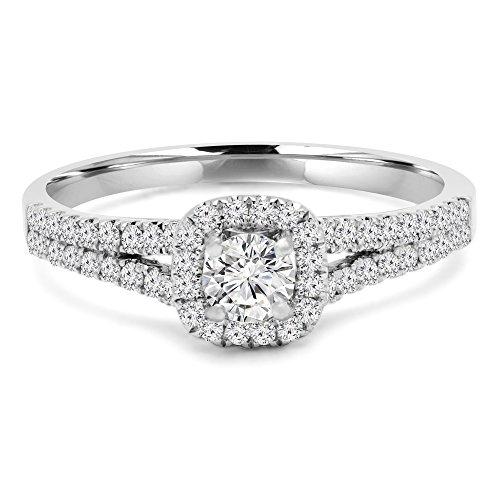 7/8 CTW ronde diamant twee rijen Split schacht kathedraal kussen halo verlovingsring in 14K wit goud met accenten (MD200125)