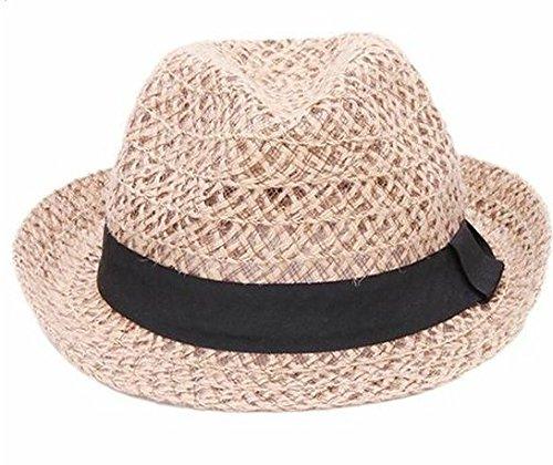 Drawihi Chapeau de soleil à large bord en paille pour femme Style rétro