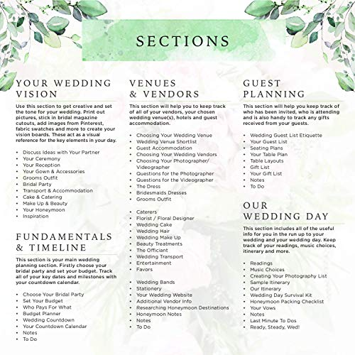 Product Image 9: Wedding Planner & Organizer – Floral Gold Edition – Diary Engagement Gift Book & Calendar