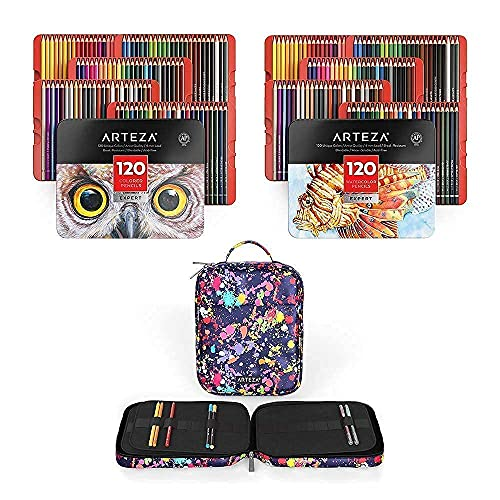 Arteza Pencils with Pencil Case Bundle, Drawing Art Supplies for Artist, Hobby Painters & Beginners