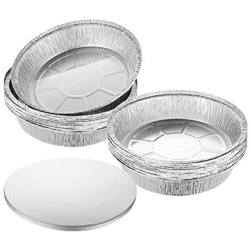 Heng Bandejas de Barbacoa 20 Piezas con Tapa Bandeja de Barbacoa con Papel de Aluminio para bandejas de Grasa Bandejas de Repuesto Bandejas Accesorios de Cocina