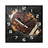 WowPrint Horloge murale carrée en acrylique - Motif ballon de rugby - Sans tic-tac - Pour bureau, salle de classe, maison, chambre, salon, salle de bain, cuisine