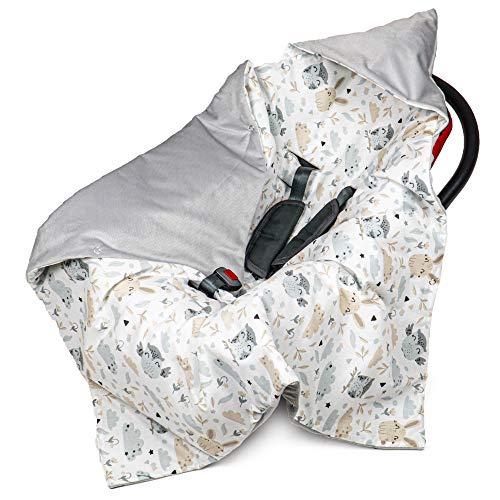 Manta para cochecito de bebé de 90 x 90 cm, manta para capazo – Manta universal para bebé, por ejemplo, para silla de coche Maxi Cosi, terciopelo de algodón, certificado Öko-Tex