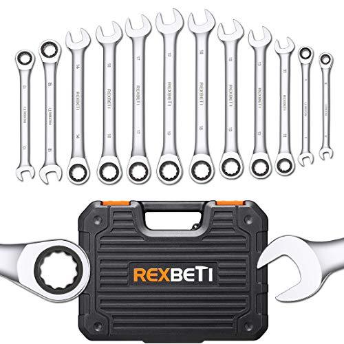 REXBETI 12-Piece Metric Ratcheting Wrench Set, 8-19MM, Chrome Vanadium Steel Combination Wrench Set...