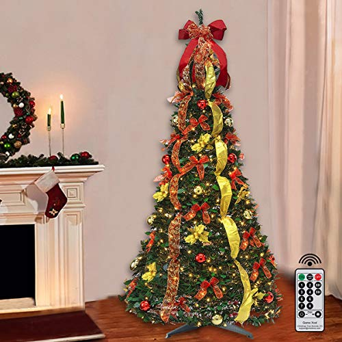 Pop Up Christmas Tree with Remote, 6FT Pull Up Christmas Tree with Lights Pre-lit 200LED Warm Lights, Artificial Xmas Trees Decorated Holiday Party Decorations Red Gold