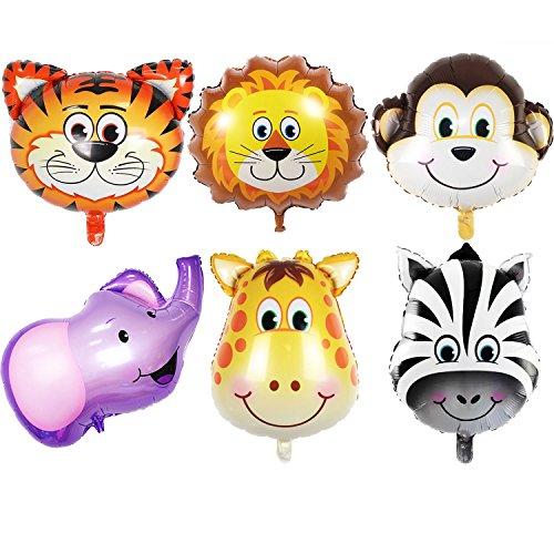 GuassLee JUNGLE DIEREN KOP BALLONNEN - 6st 22 Inch Giant Dierenkop Ballonnen Kit Voor Verjaardag Baby Shower Feestdecoraties Kinderspeelgoed