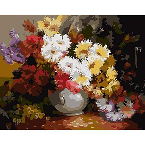 Pintura por Número DIY Botella de crisantemo adecuado niños adultos Los ancianos principiantes Pintura con Pinceles para Hogar El lienzo arte Decoraciones navideña regalos Frameless,50x65cm