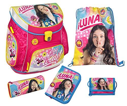 Undercover Mochila Escolar con Estuche Escolar, Bolsa para Zapatos, Estuche y Bolsillo en el Pecho, de Disney Soy Luna, 5 Piezas, Mochila Escolar, 40 cm, Rosa (Rosa) - 10011502
