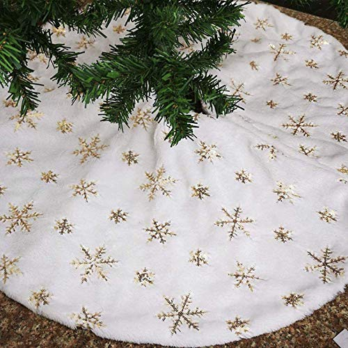 Pure White Christmas Tree Skirt with Gold Sequin Snowflakes, 48 inches Plush Faux Fur Xmas Tree Skirts Base Cover for New Year Thanksgiving Day Home Party Decoration (Gold, 48 inches)