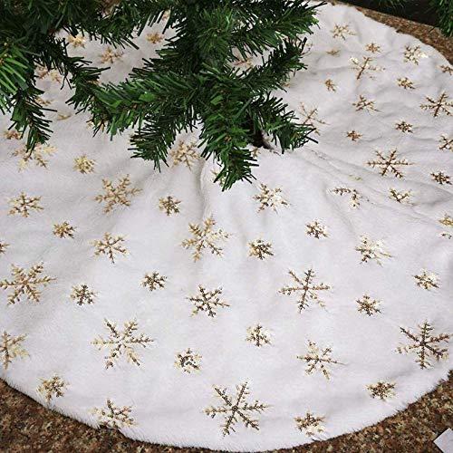 Weiß Weihnachtsbaum Röcke mit Goldene Schneeflocken, 122cm Plüsch Kunstfell Weihnachtsbaumrock Luxus Runde Christbaumständer Baum Decke für Weihnachten Neujahr Party Dekorationen (Goldene, 48 zoll)