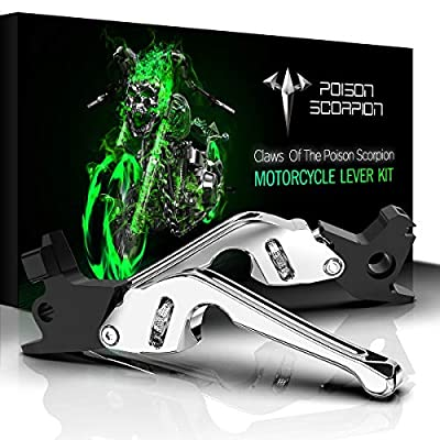 POISON SCORPION Chrome 0204A CNC Brake Clutch Levers Compatible with Dyna | Softail | Touring | CVO | Sportster Model Motorcycle 1Pair