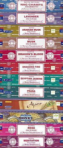 Set of 12 Nag Champa, Lavender, Arabian Musk, Egytian Jasmine, Musk, Dragon's Fire, Dragon's Blood, Prana, Ajaro, Money, Rose, Meditation by Satya Incense Bangalore (BNG)