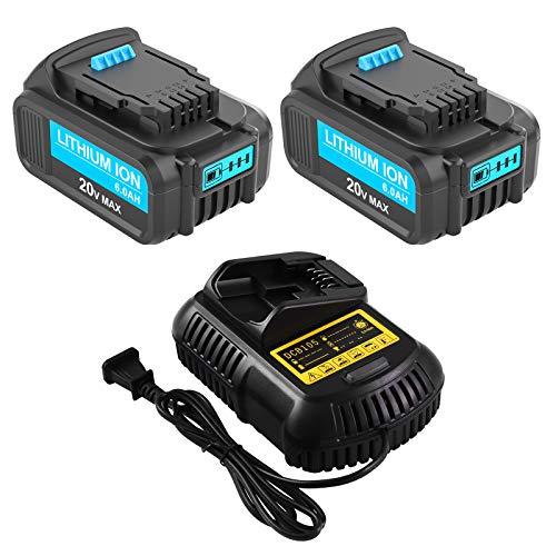 2 Packs 6.0Ah 20 Volt DCB206 Battery Compatible with Dewalt 20V Battery DCB200 DCB201 DCB203 DCB204 DCB205 DCB207 and Charger for Dewalt 12V/20V Max Lithium Battery