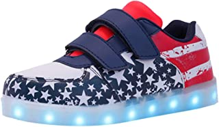 Shusuen Toddler Boys Girls American Flag Slip On Loafers Flat Shoes Patriotic 614 Lightweight Lunimous Sneakers