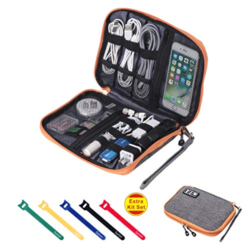 Travel Cable Organizer Bag Waterproof Portable Electronic Organizer for USB Cable Cord Phone Charger Headset Wire SD Card,5pcs Cable Ties