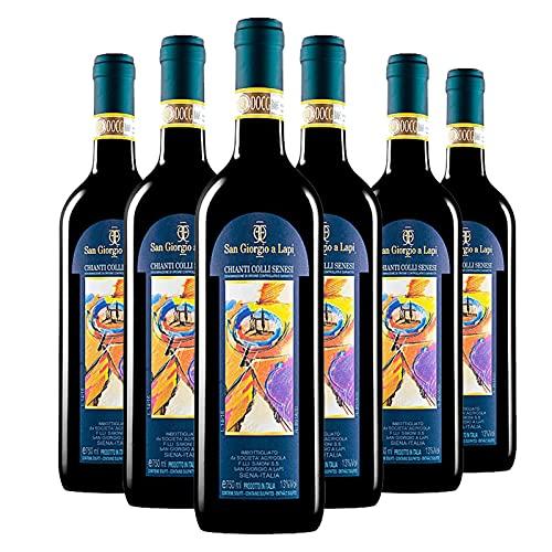 Vino Rosso Toscana - Chianti Colli Senesi DOCG 2018 - San Giorgio a Lapi - Sangiovese - Box 6 Bottiglie 0,75 L