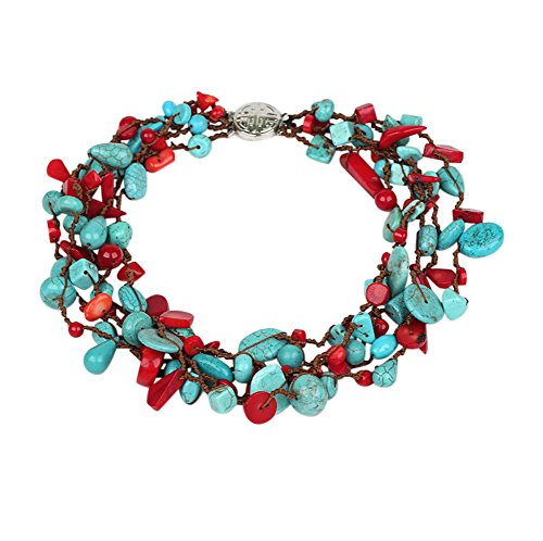 TreasureBay HandMade Beautiful Multi Strand Red Coral and Natural Blue Turquoise Necklace for Women