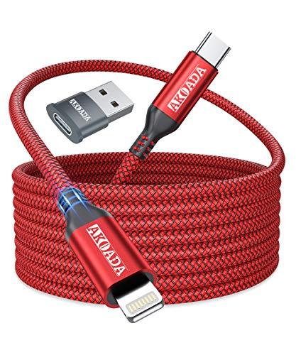 AkoaDa - Cable USB C a Lightning, 3 m [certificado MFi] nailon tipo C Lightning cable de carga soporta Power Delivery de carga rápida para iPhone 11 Pro Max XS XR X 8 8 Plus y más (rojo)