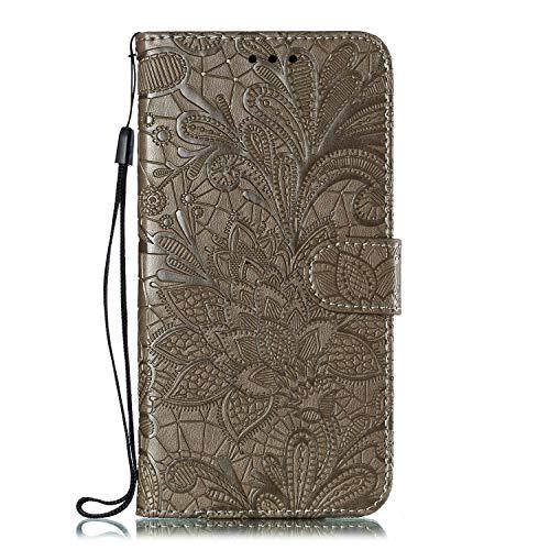 Hülle für Motorola One Zoom Lederhülle Flip Tasche Klappbar Handyhülle mit [Kartenfächer] [Ständer Funktion], Cover Schutzhülle für Motorola Moto One Zoom - JEEB021168 Grau