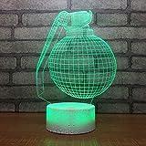 Night Light 3D Optique Illusion Lampe Crack Base Blanche Bombe Led Lampe Bureau Pour...