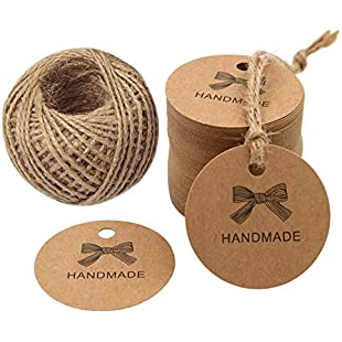 """100 PCS Kraft Gift Tags 4.3 CM * 4.3 CM""""HANDMADE"""" Label Birthday Luggage Tags Paper Wedding Labels Brown Hang Tag with 30 Meters Jute Twine:Hitspoker"""