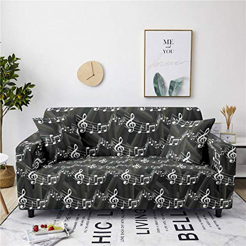 Universal Sofa Cover Spandex Stretch Couch Gray Musical Note Slipcover Pattern Tight Fitted Armchair Loveseat Settee Cover 1/2/3/4 Seater Sofa Protector,2,Seat 145,185cm