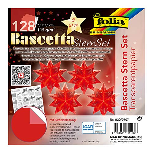 folia 820/0707 - Bastelset Bascetta Stern, Transparent rot, 7,5 x 7,5 cm, 32 Blatt, fertige Größe des Papiersterns ca. 10 cm, mit ausführlicher Anleitung - ideal zur zeitlosen Dekoration