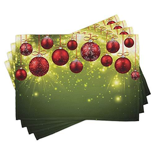 ABAKUHAUS, Weihnachten, Platzmatten, Digitaldruck Rutschfesten Stoff Tischdekoration für die Küche, Adventskranz Hängeschmuck Muster aus Tannenzweigen Socken Und Mützen, Mehrfarbig
