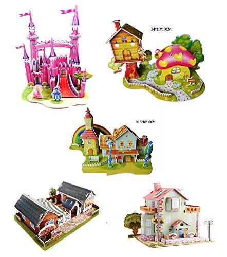 Black Temptation Ensemble de 5 Beau 3D Garden House Jigsaw Puzzle Enfants Puzzle Jouets
